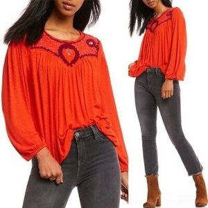 Free people orange embroidered sweater S19
